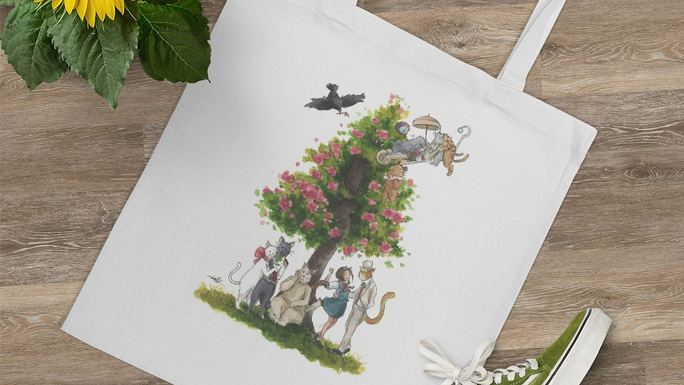 Studio Ghibli The Cat's Return Watercolor Original Design Tote Bag