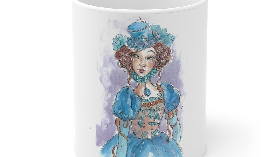 Little Princess in Blue Watercolor Original Design Ceramic Mug (EU)