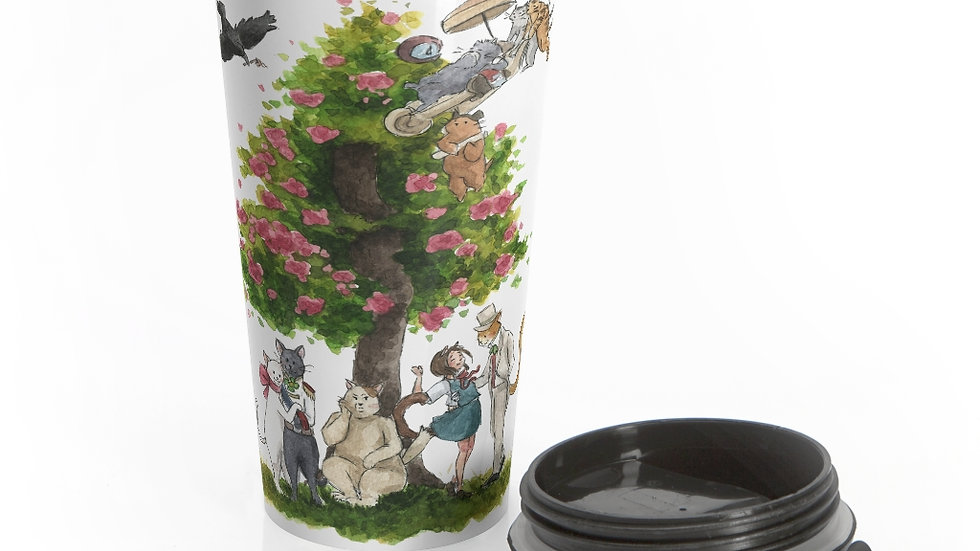 Studio Ghibli Cat's Return Watercolor Original Design Stainless Steel Travel Mug