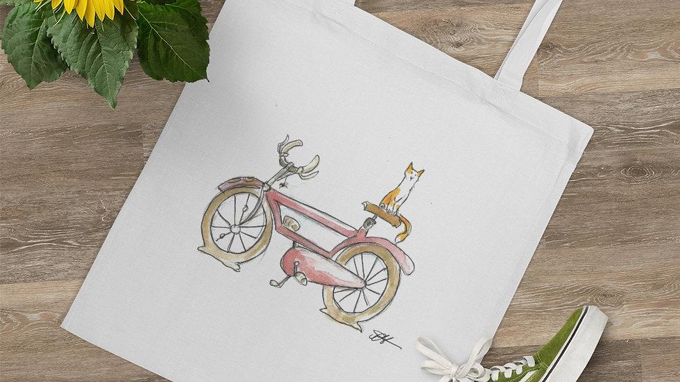 Cat on the Bicycle Watercolor Original Design Tote Bag