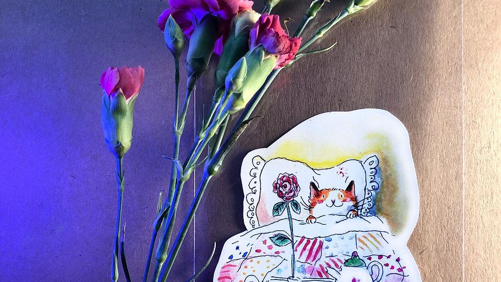 Cat in the Bed Original Design Handmade Sticker