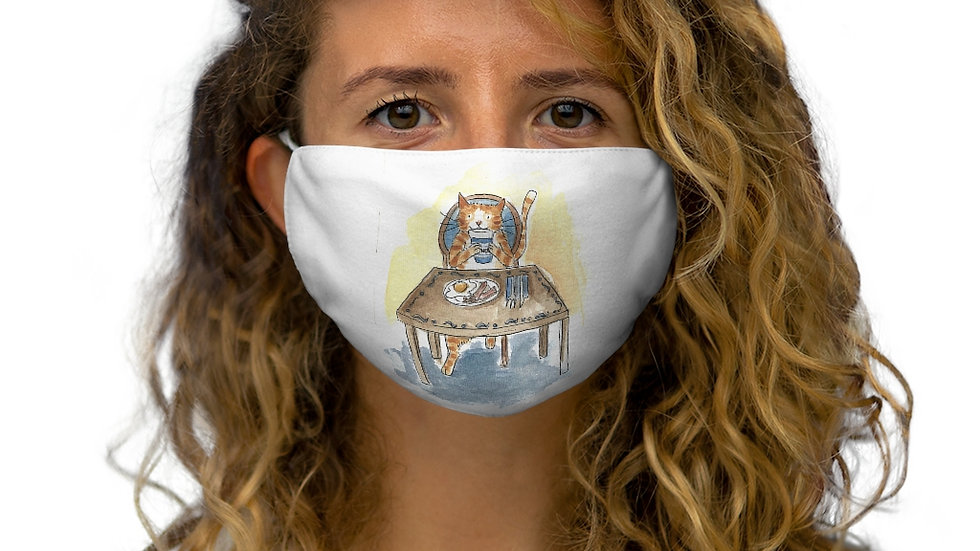 Eating Cat an the Table Watercolor Original Design Snug-Fit Polyester Face Mask