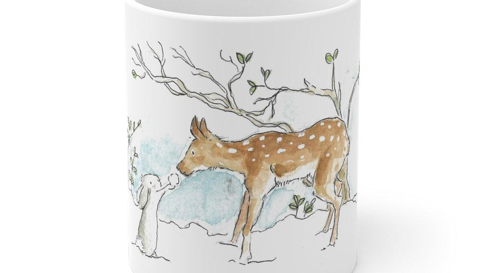 Rabbit & Fawn Watercolor Original Design Ceramic Mug (EU)