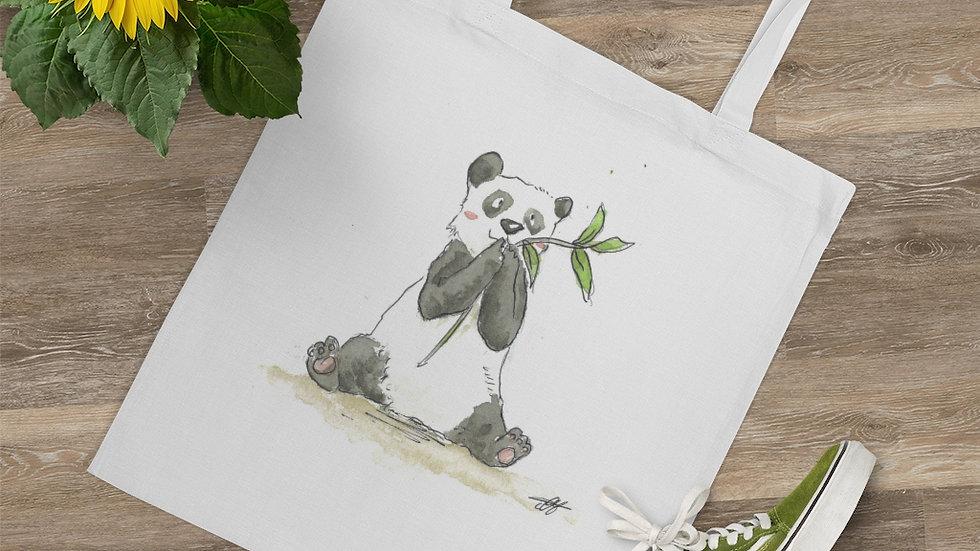 Happy Eating Panda Watercolor Original Design Tote Bag