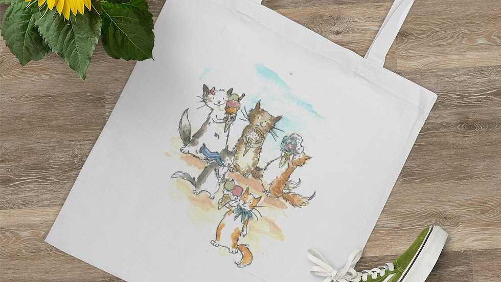Kittens with Ice Cream Watercolor original Design Tote Bag