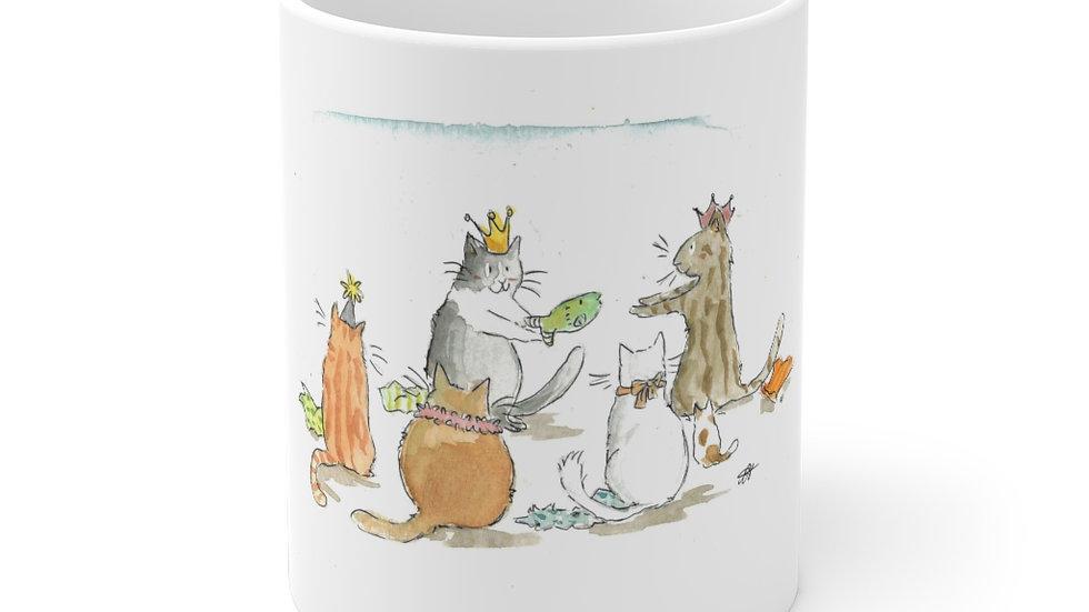 Crowned Cat Watercolor Original Design Ceramic Mug (EU)