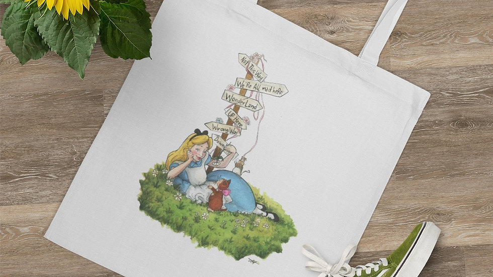 Disney Alice in Wonderland with Directions Watercolor Original Design Tote Bag