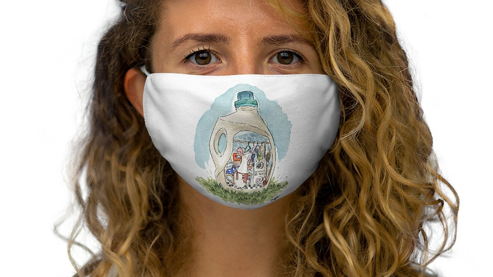 Mouse in the Bottle Watercolor Original Design Snug-Fit Polyester Face Mask