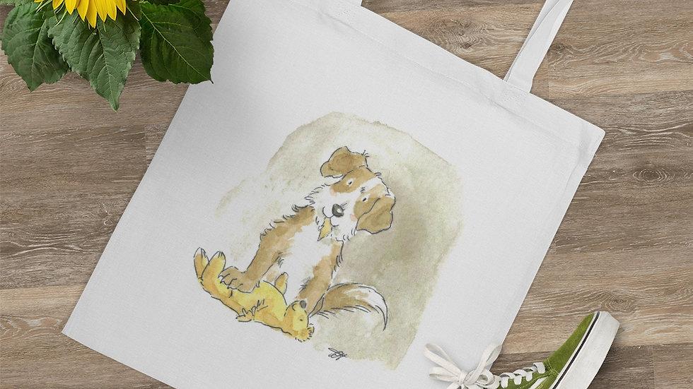 Puppy with Teddy Bear Watercolor Original Color Tote Bag