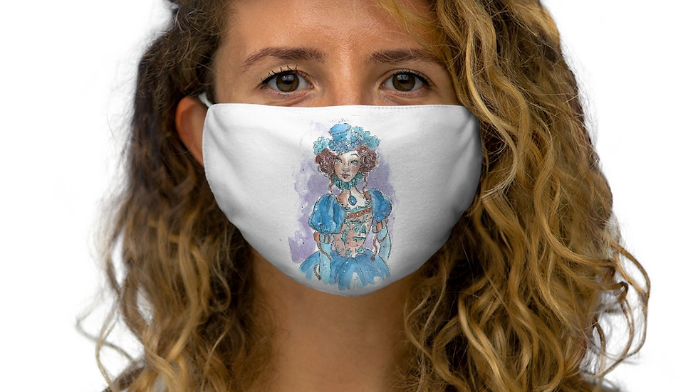 Little Princess in Blue Watercolor Original Design Snug-Fit Polyester Face Mask
