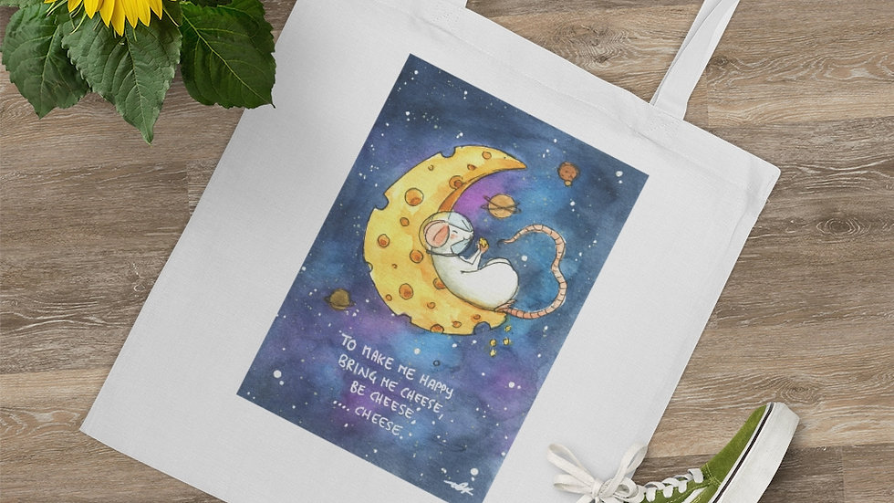 Astromice on a Cheese Moon Watercolor Original Design Tote Bag