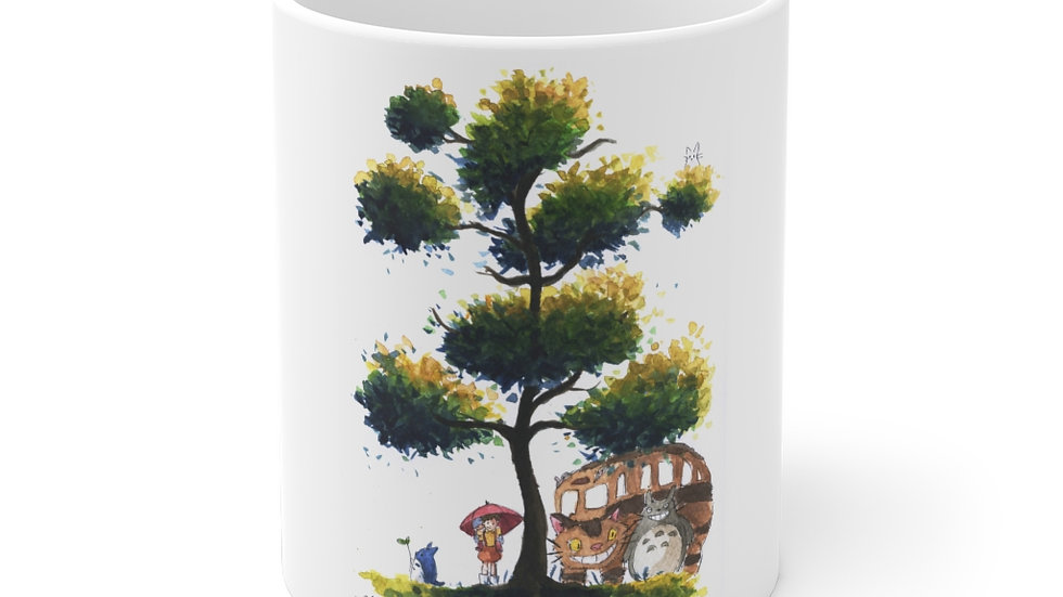 Studio Ghibli Totoro with Catbus Watercolor Original Design Ceramic Mug (EU)