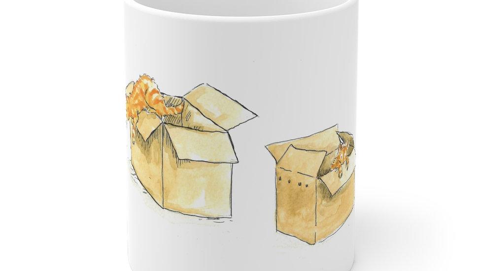 Kittens in the Box Watercolor Original Design Ceramic Mug (EU)