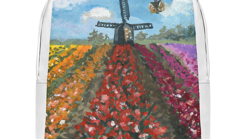 Tulip Field with Up Flying House Gouache Original Design Minimalist Backpack