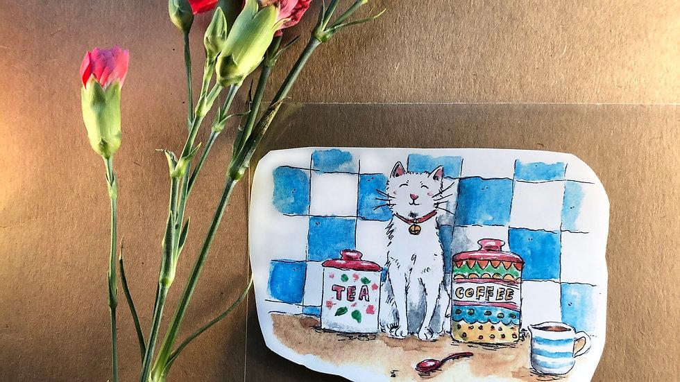 Cat in the Kitchen Original Design Handmade Sticker