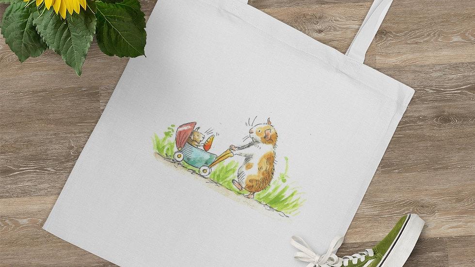 Hamster with Stroller Watercolor Original Design Tote Bag
