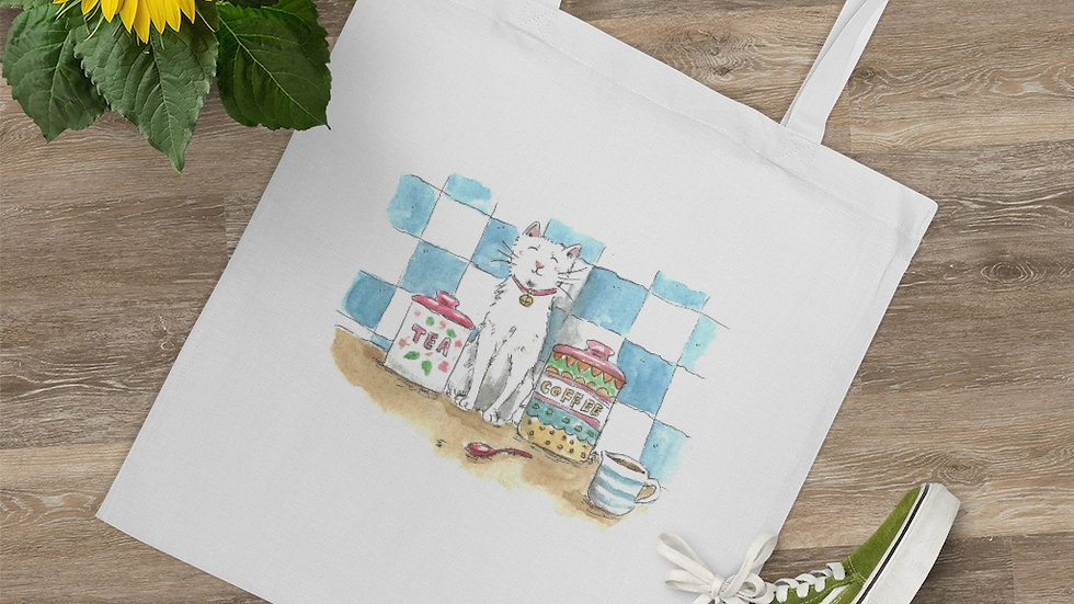 Cat in the Kitchen with Tiles Watercolor Original Design Tote Bag