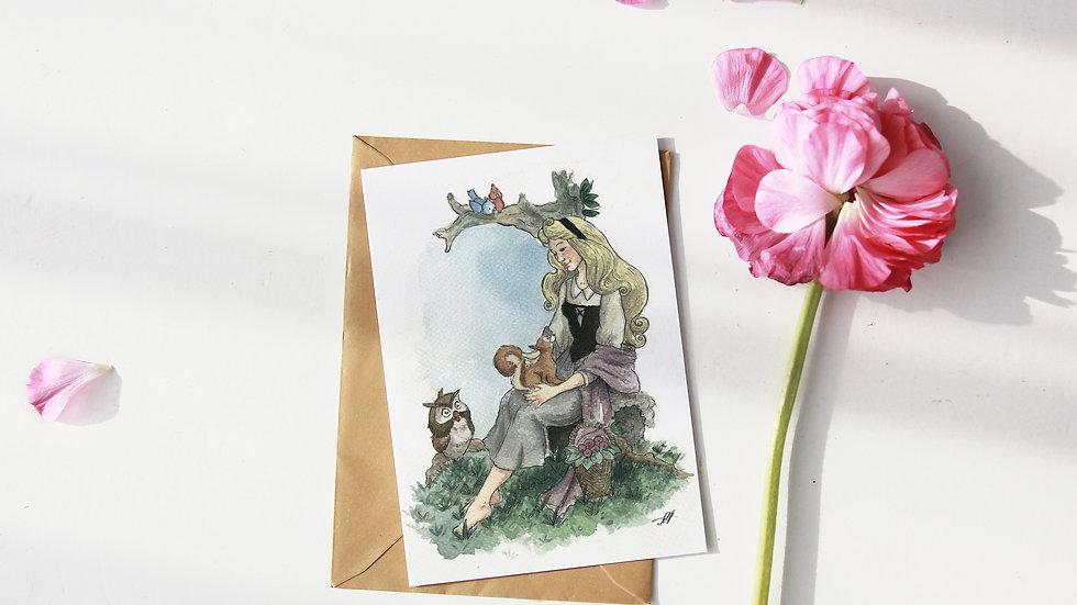 Disney Princess Aurora Watercolor Original Design Greetings Card