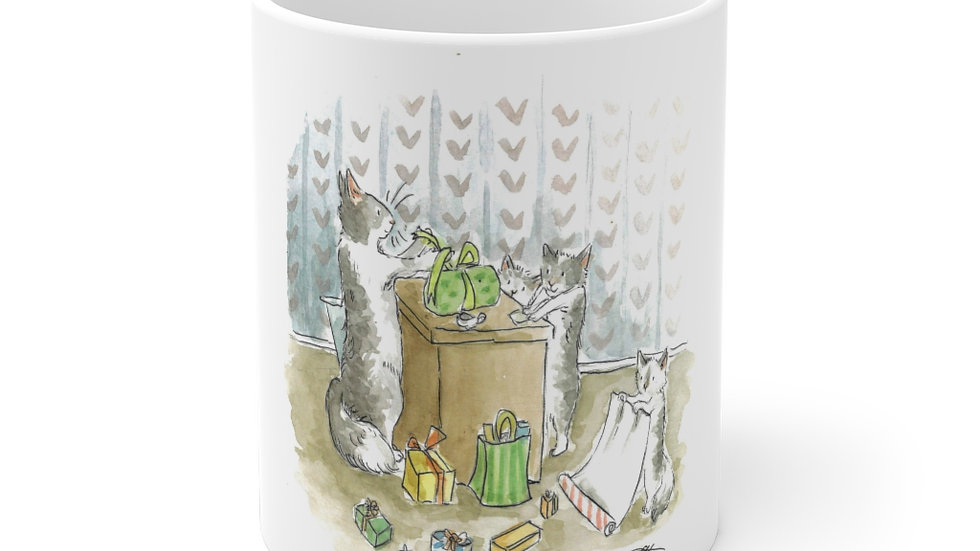 Cats making Presents Watercolor Original Design Ceramic Mug (EU)