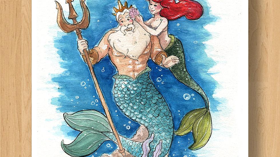 Disney Ariel with Triton Original Design Print