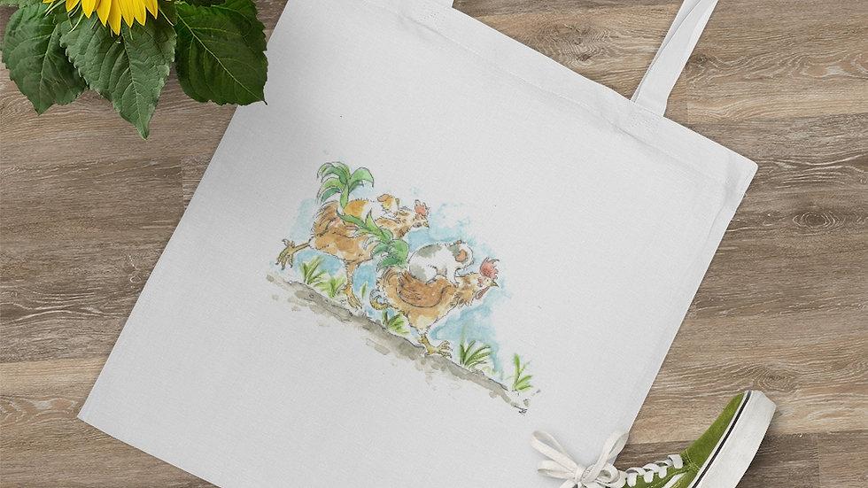 Roosters and Mice Watercolor Original Design Tote Bag