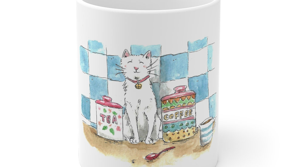 Cat in the Kitchen with Tiles Watercolor Original Design Ceramic Mug (EU)
