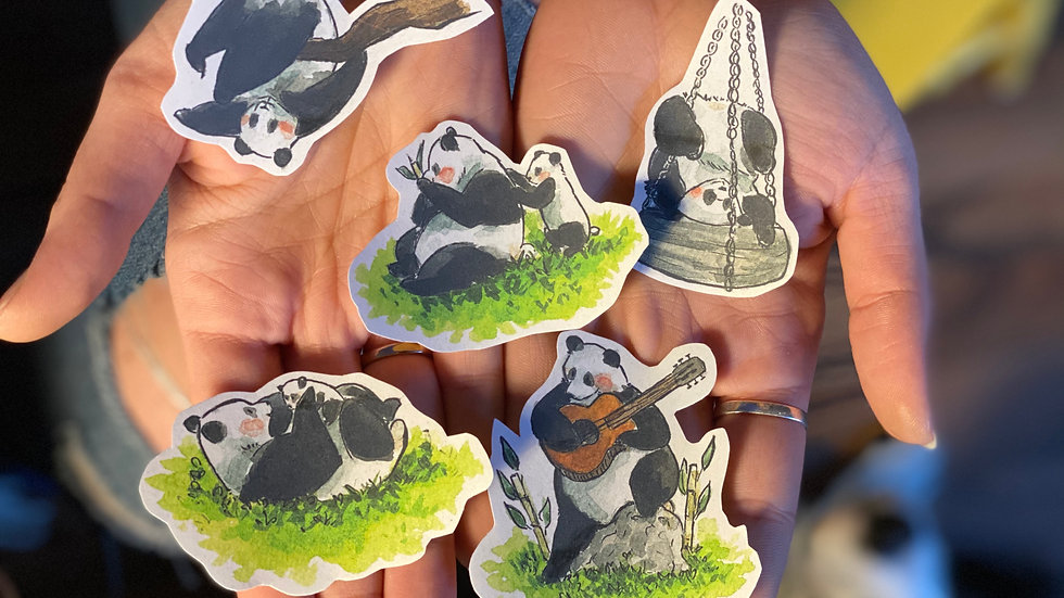 Panda Stickers Bundle (5 PIECES) watercolor original designs handmade