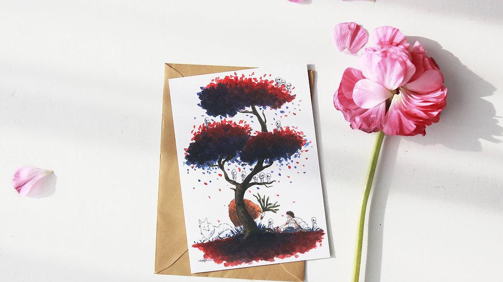 Studio Ghibli Princess Mononoke Watercolor Original Design Greetings Card