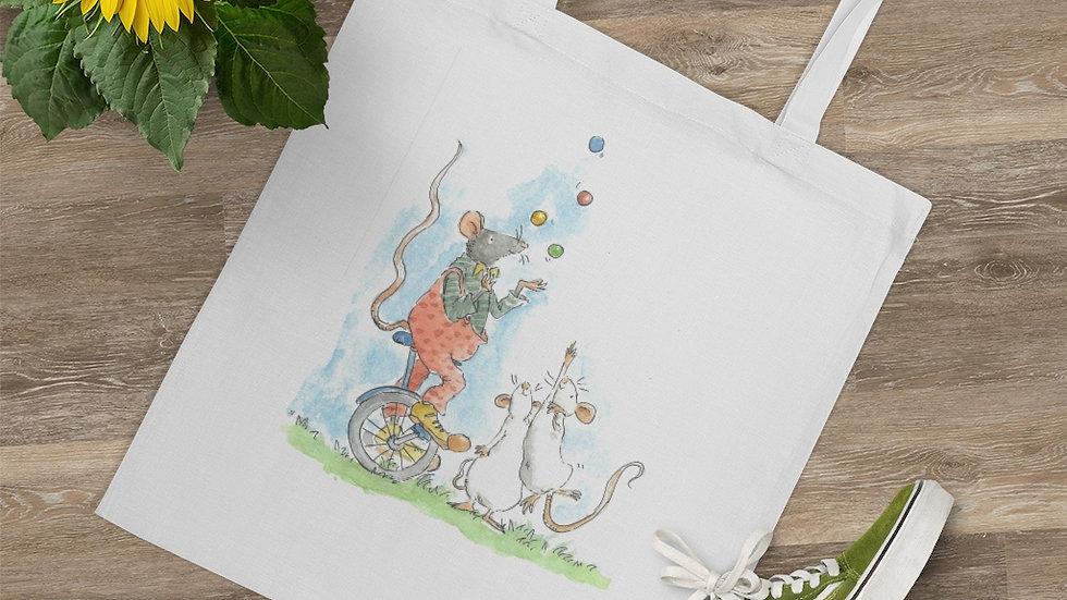 Juggling Mouse Watercolor Original Design Tote Bag