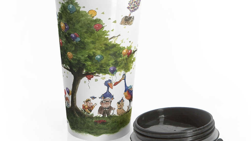 Disney Pixar Up Tree Watercolor Original Design Stainless Steel Travel Mug