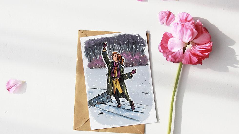 Princess Anastasia Digital Watercolor Design Greetings Card
