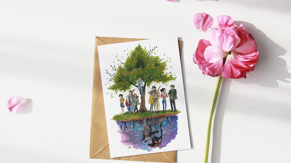 Stranger Things Netflix Original WatercolorOriginal Design Greetings Card
