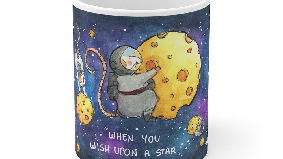 Mice on Cheese Planets Watercolor original Design Ceramic Mug (EU)