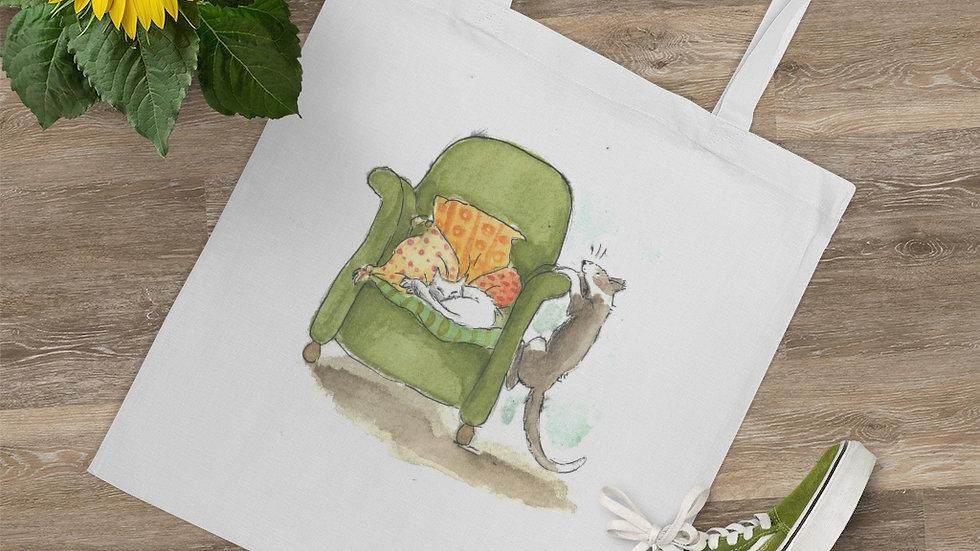 Cats and Armchair Watercolor Original Design Tote Bag