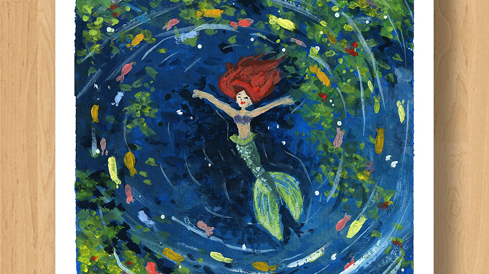 Little Mermaid in the Lagoon Original Design Print