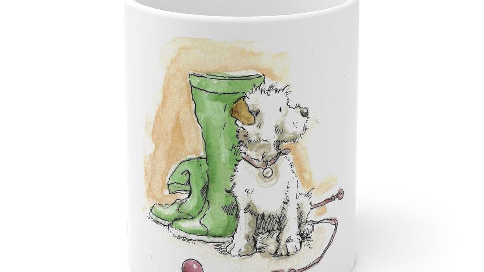 Dog & Boots watercolor Original Design Ceramic Mug (EU)