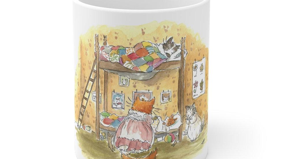Sleeping Kittens on the Bunk Bed Watercolor Original Design Ceramic Mug (EU)