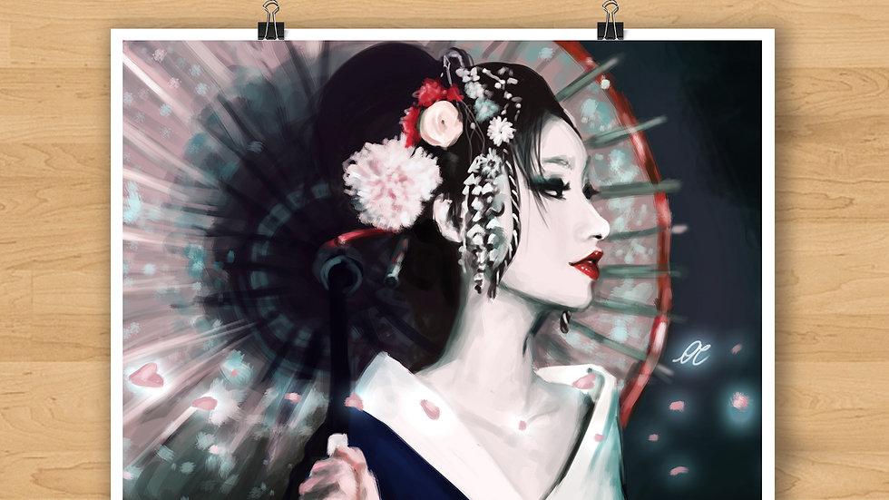 Japanese Geisha Original Design Print