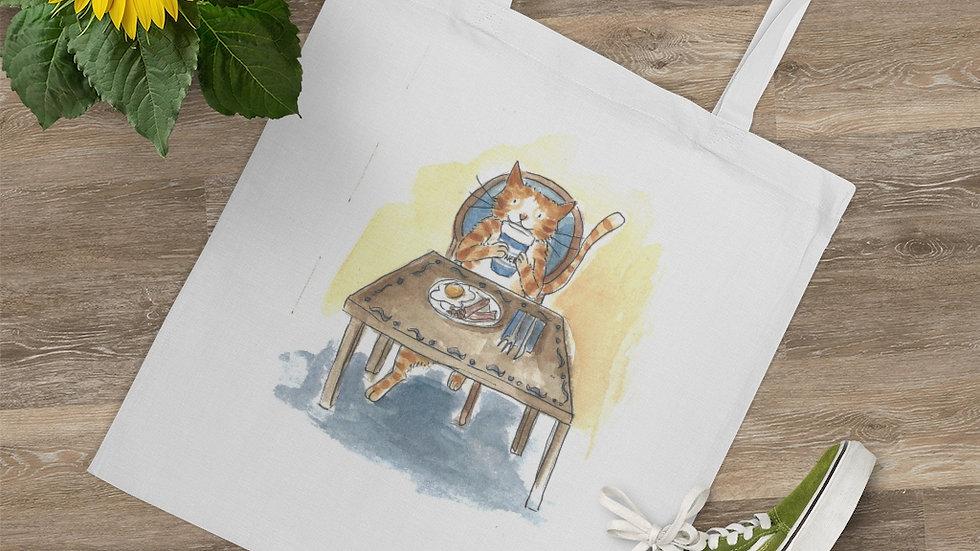 Eating Cat at the Table Watercolor Original Design Tote Bag