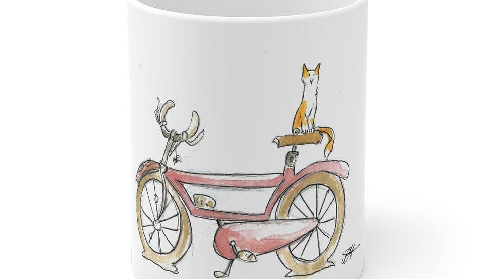 Cat on the Bicycle Watercolor original Design Ceramic Mug (EU)