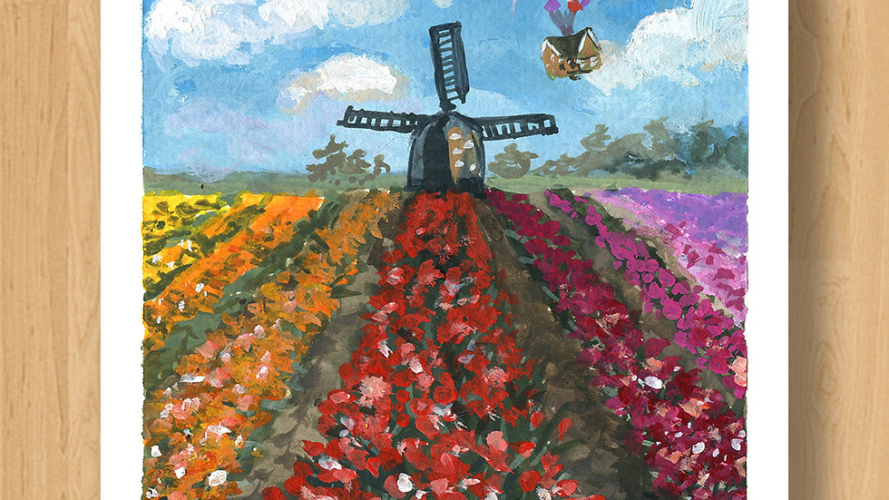 Tulips Field with Flying House Original Design Print