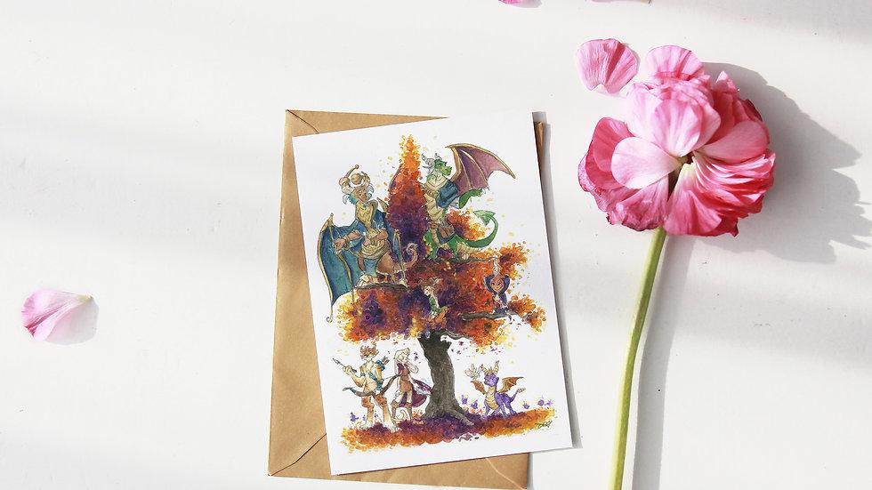 Spyro the Dragon Watercolor Original Design Greetings Card