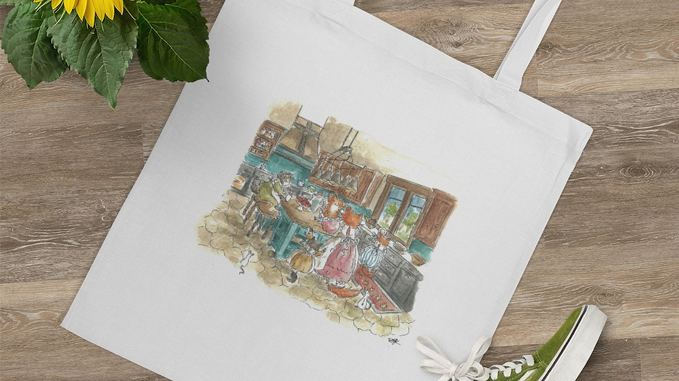 Kitten on the Table Watercolor Original Design Tote Bag