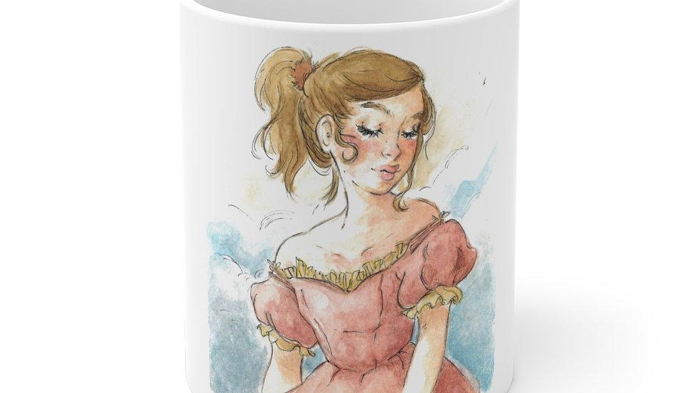 Little Princess in Pink Watercolor Original Design Ceramic Mug (EU)