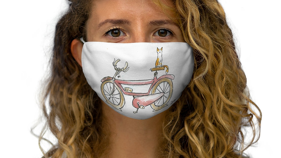 Cat on the Bicycle Watercolor Original Design Snug-Fit Polyester Face Mask