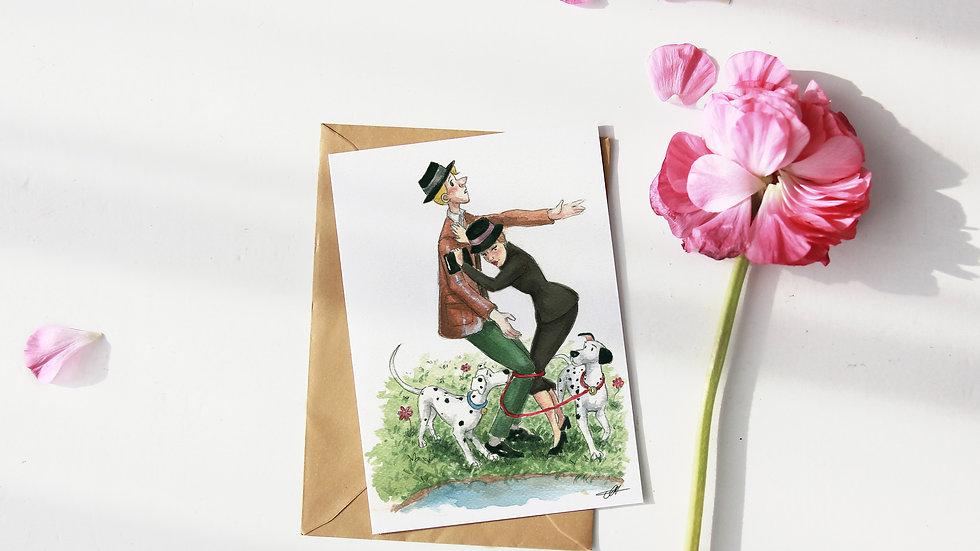 Disney 101 Dalmatians Watercolor Original Design Greetings Card
