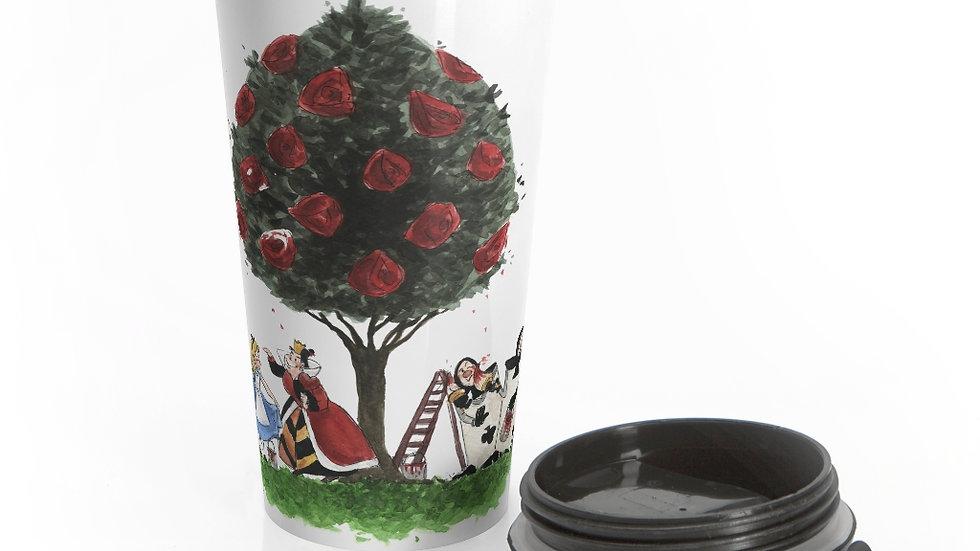 Disney Alice in Wonderland Watercolor Original Design Stainless Steel Travel Mug