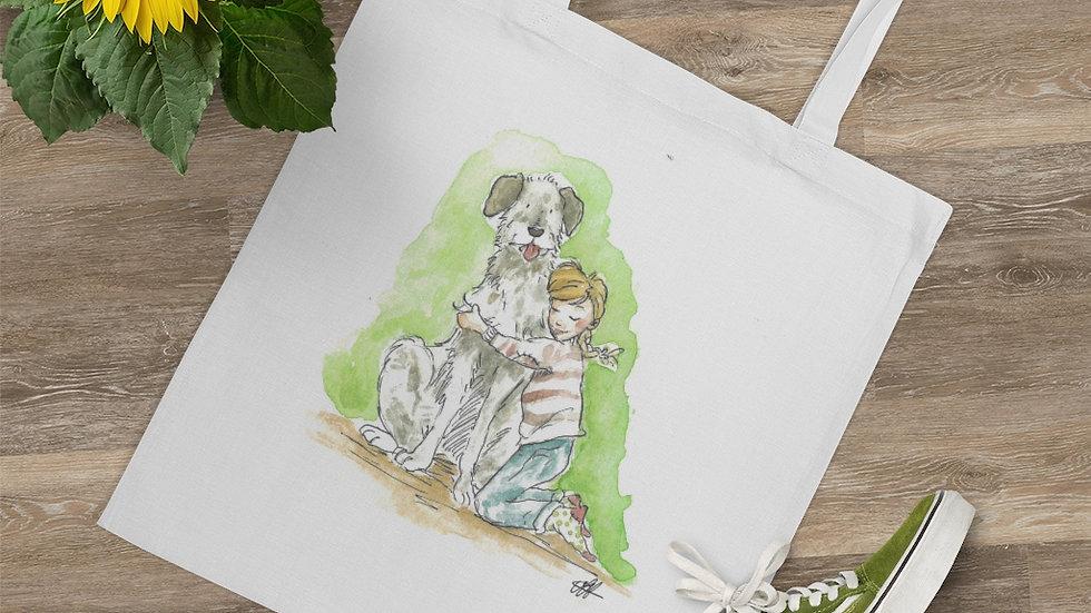 Cute Dog and Girl Watercolor Original Design Tote Bag