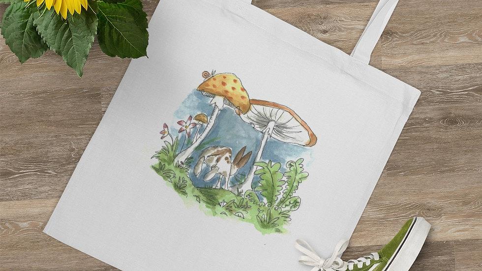 Rabbit & Mushrooms Watercolor Original Design Tote Bag