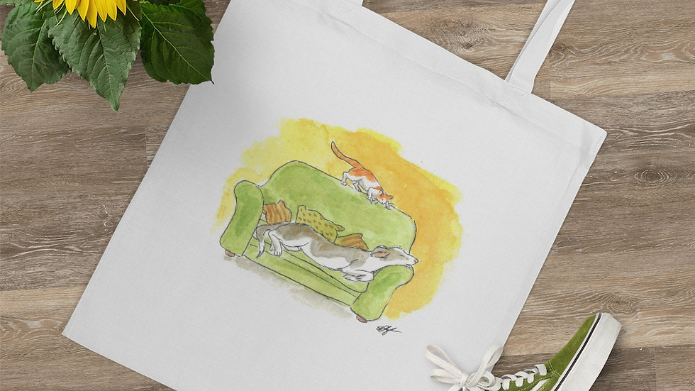 Dog on the Couch Watercolor Original Design Tote Bag